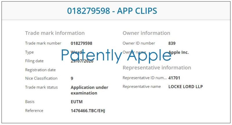 7 x App Clips TM UK filing