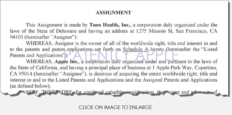 2 F Patently Apple  Assignment  Tueo Health to Apple
