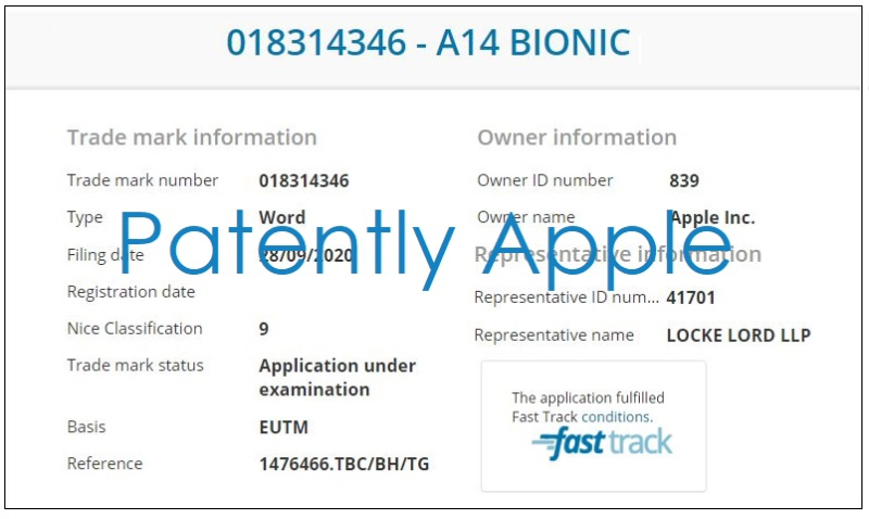 5 UK TM filing  Apple  A14 Bionic