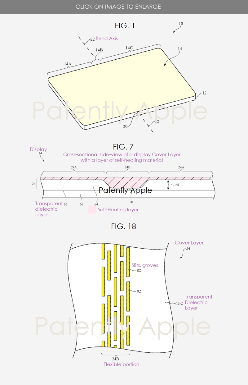 2 foldable iDevice with self-healing mateial in the fold areas