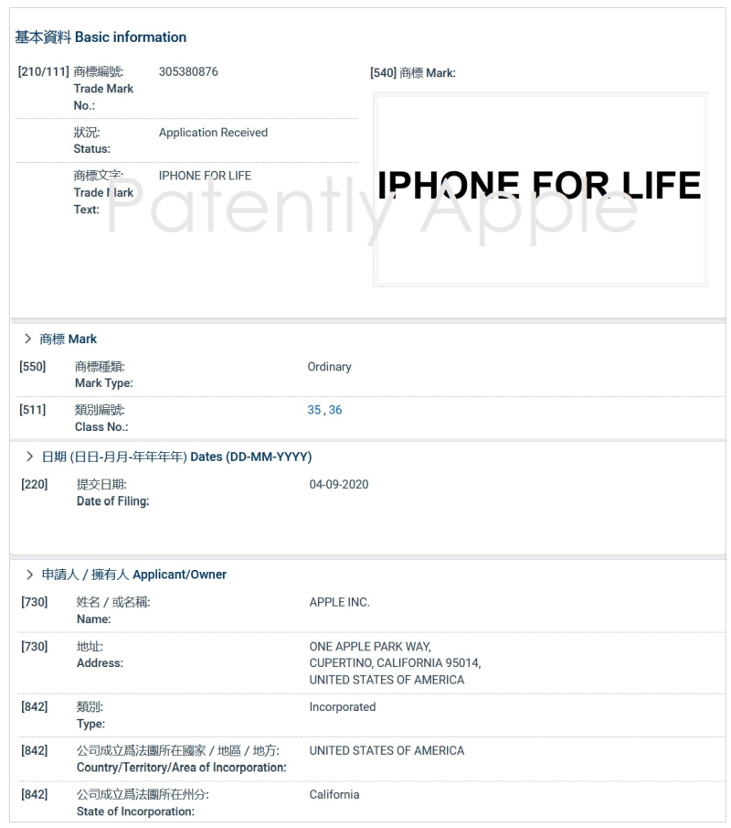 4 Apple Hong Kong TM Filing in part for 'iPhone for Life'
