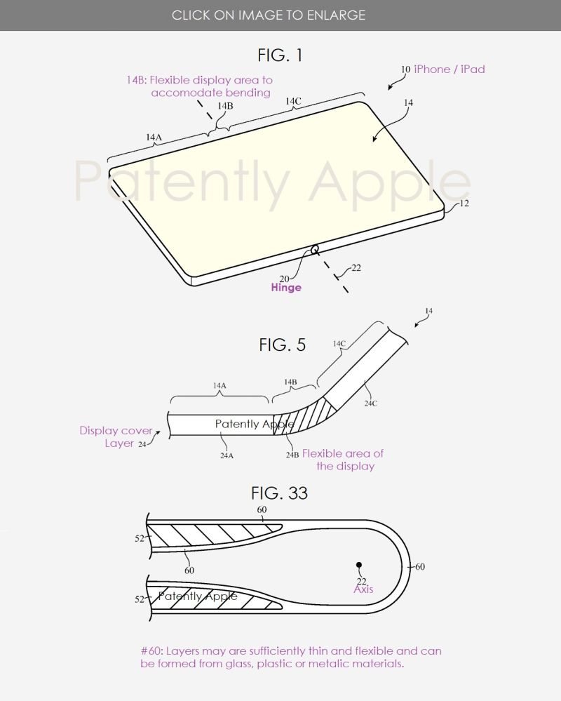 2 Flexible display  bending device  apple figs 1  5  33 - Patently Apple