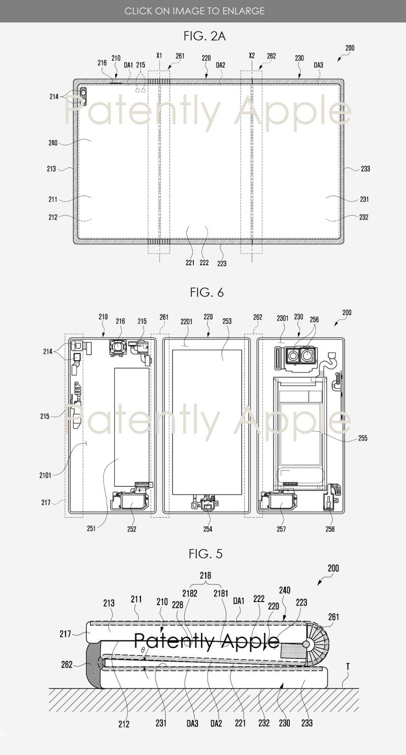 2 samsung patent figs 2a  5 and 6 tri-fold smartphone