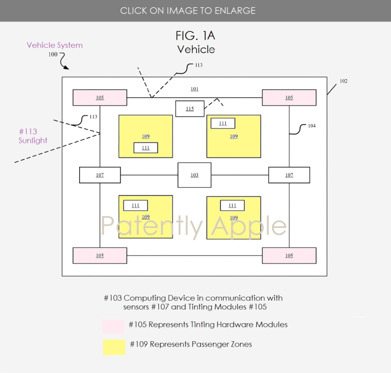 2 Project Titan patent for auto-tinting windows depending on occupant needs FIG. 1