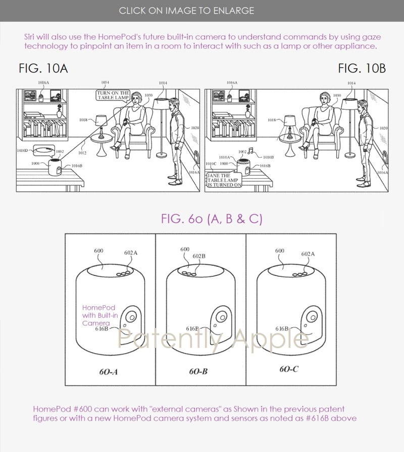 5 patent for HomePod with camera system