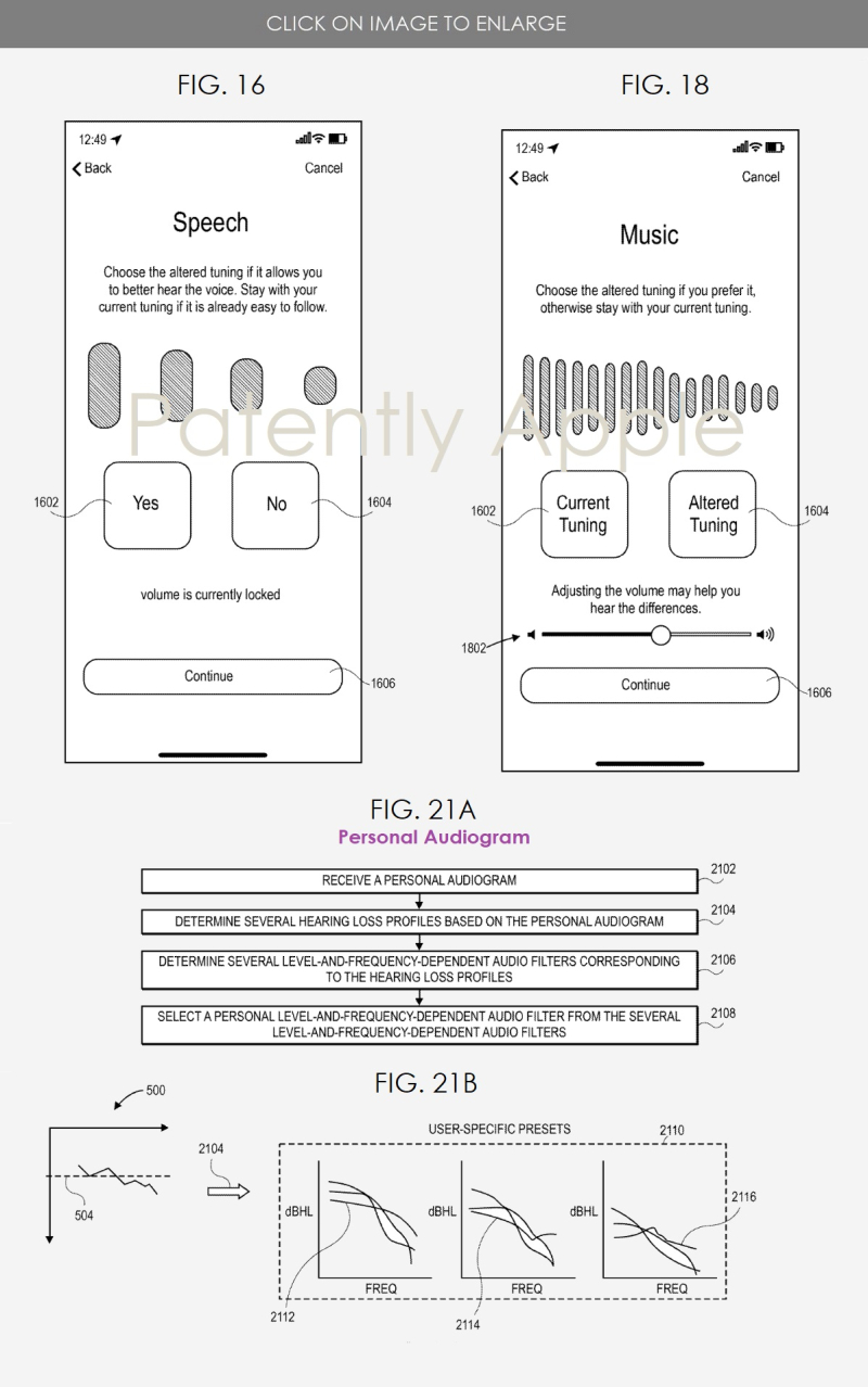 2 Apple hearing test to adjust audio patent figs 16  18  21a-b