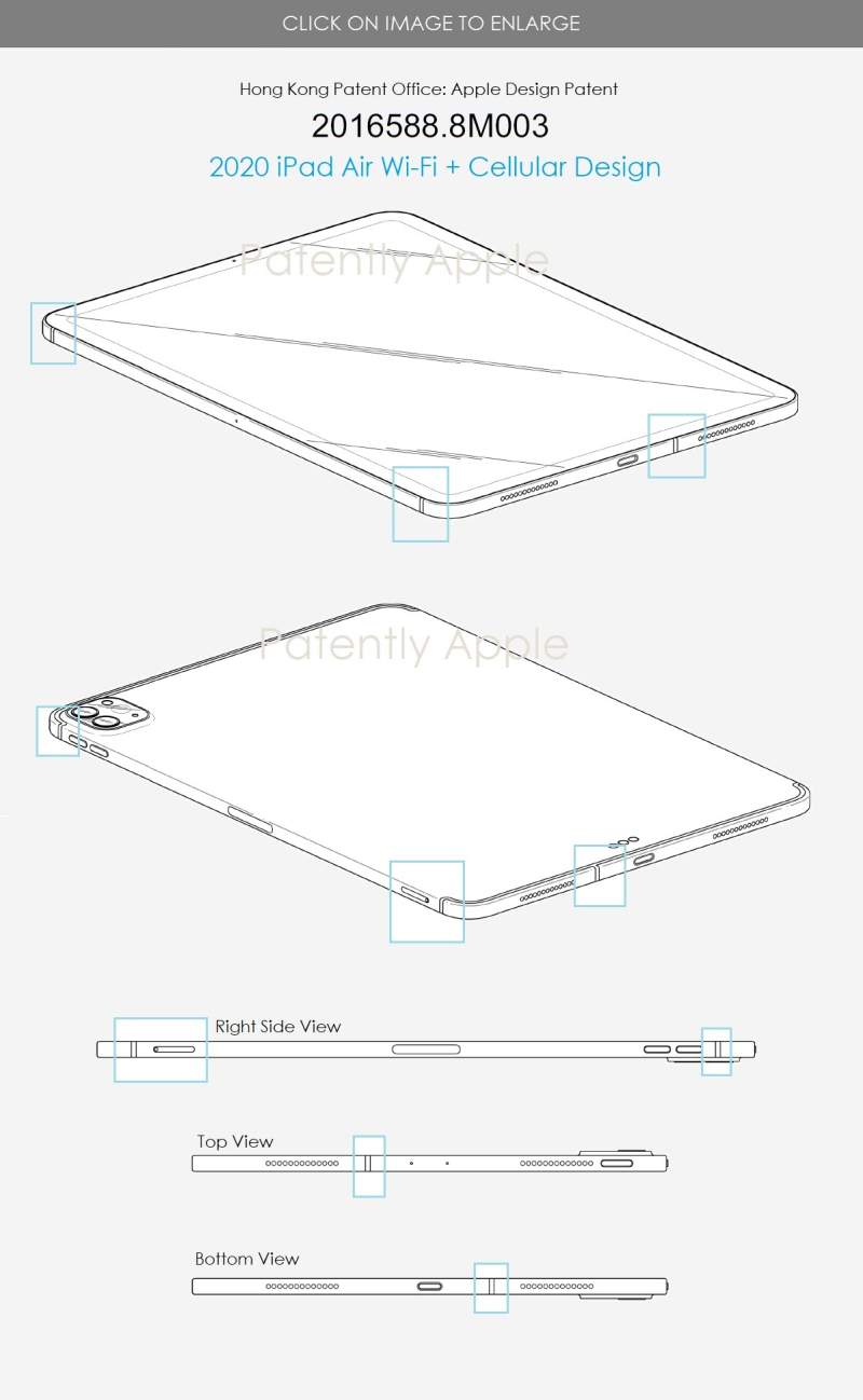 4 Design Patent 2020 iPad Air Wi-Fi + Cellular design differences from standard Non-Cellular model