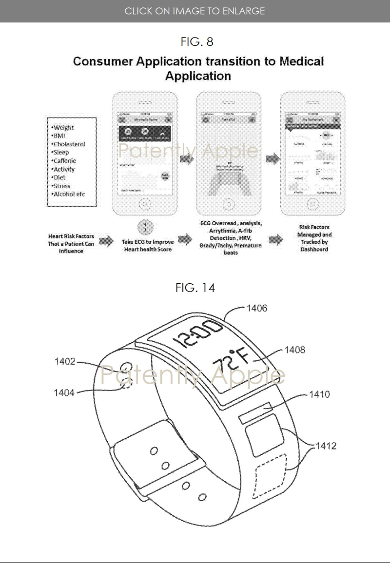 2 AliveCor patent 10 595 731  figs 8 and 14