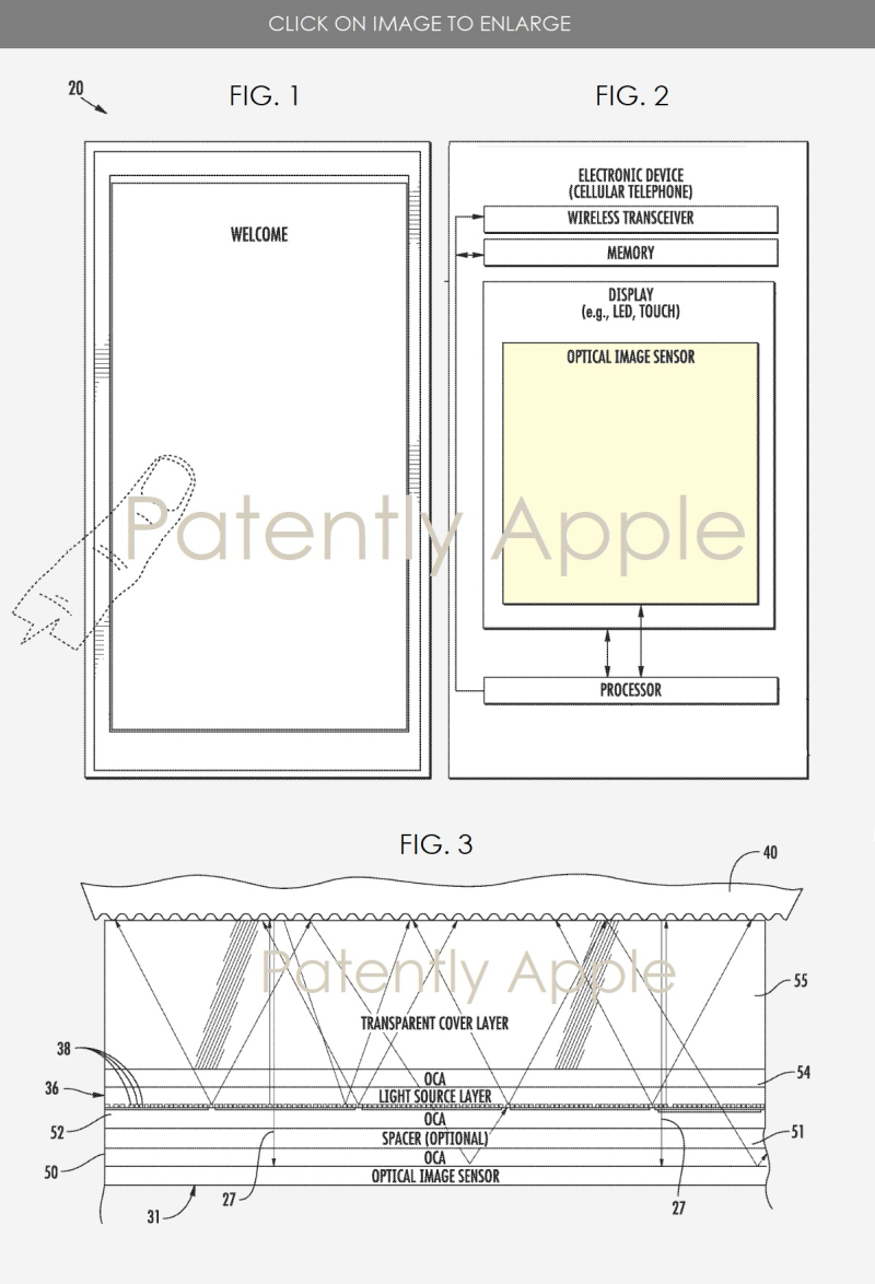 2x2 granted patent for under-display touch id