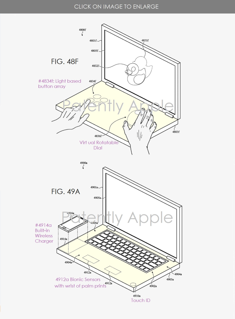 2 apple patent figs for new MacBook features including a dual display model