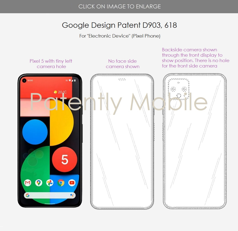 5 Google design patent for possible future Pixel phone with no camera hole on face