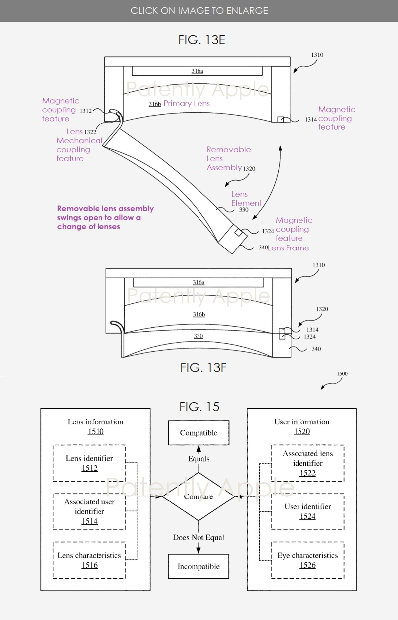 3 Apple HMD VR MR headset with opening lens assembly to change lenses  prescription
