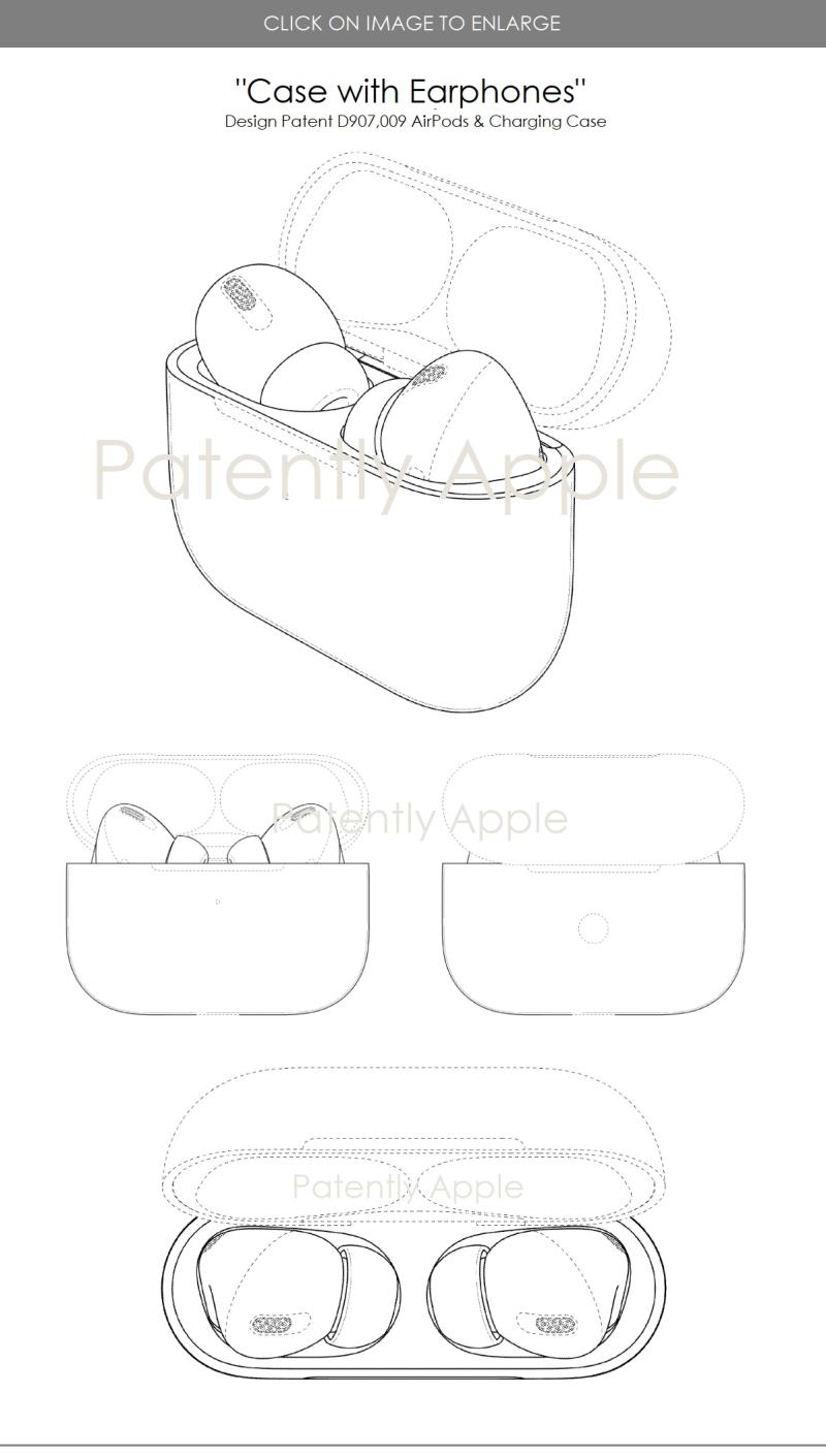 3 AirPods in Case design patent jan 2021
