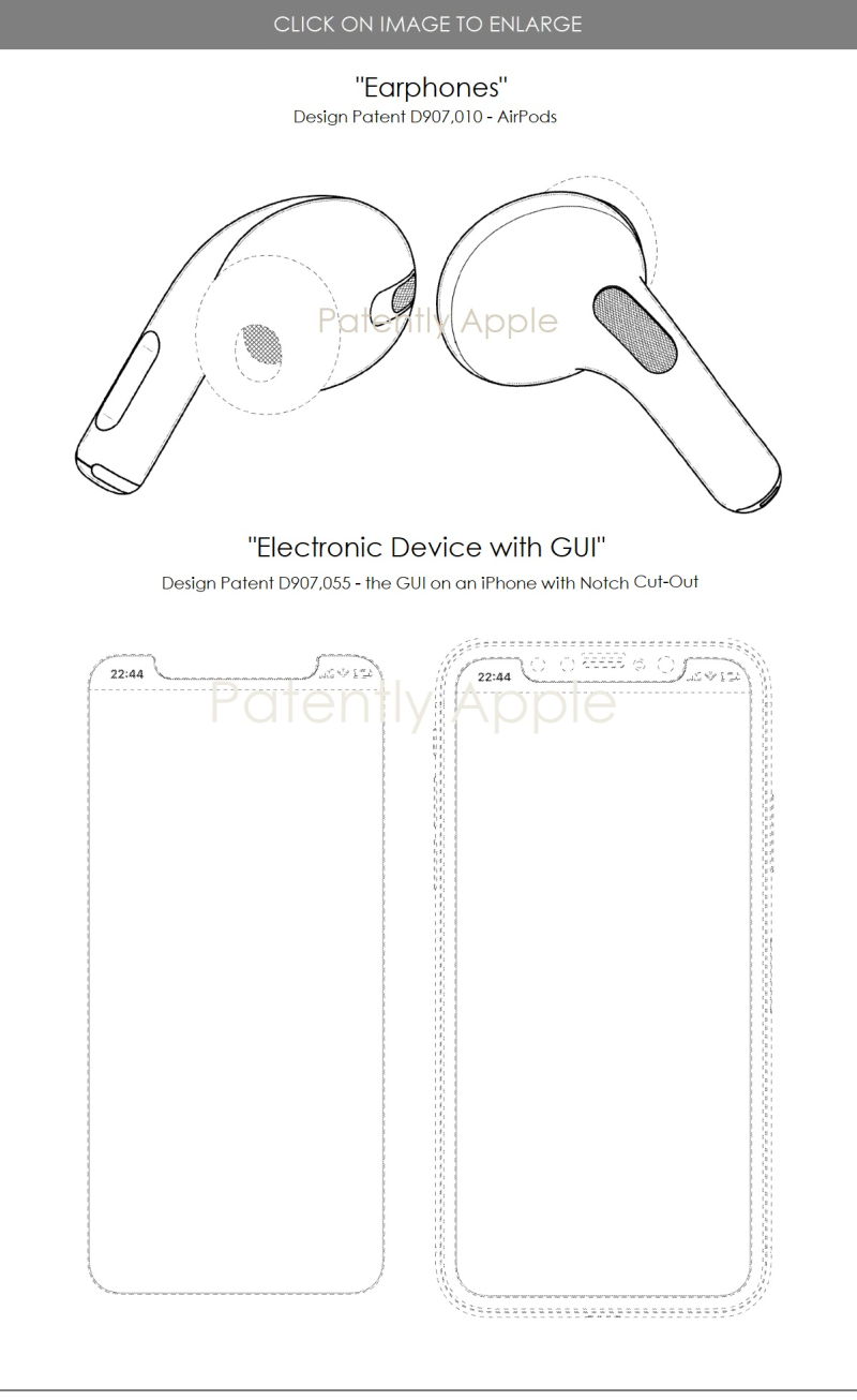 4 design patents jan 2021 apple airpods and notch gui for iPhones