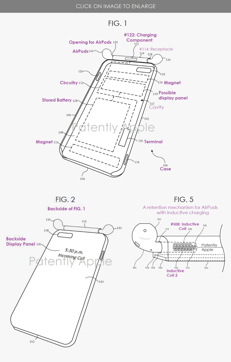 2 Apple Granted Patent for case with AirPods fixture and inductive charging