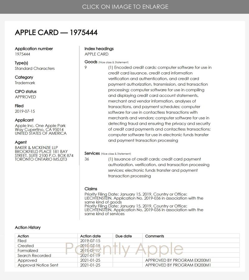 2 Apple  Canadian registered TM for 'Apple Card'