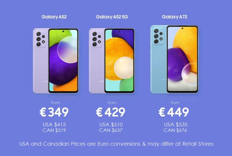 2 X Galaxy A pricing 3-17-2021