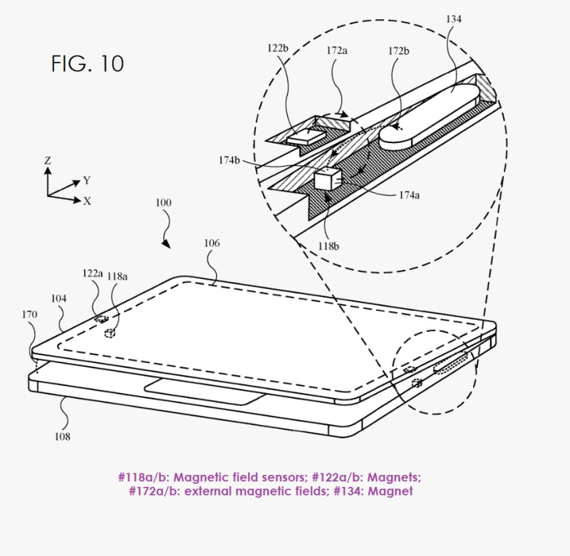 3 MacBook patent for new lid magnetics system