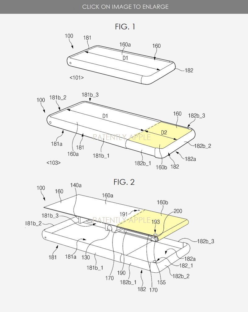 6 SAMSUNG PATENT APPLICATION FIGURES FOR SCROLLABLE PHONE FORM FACTOR