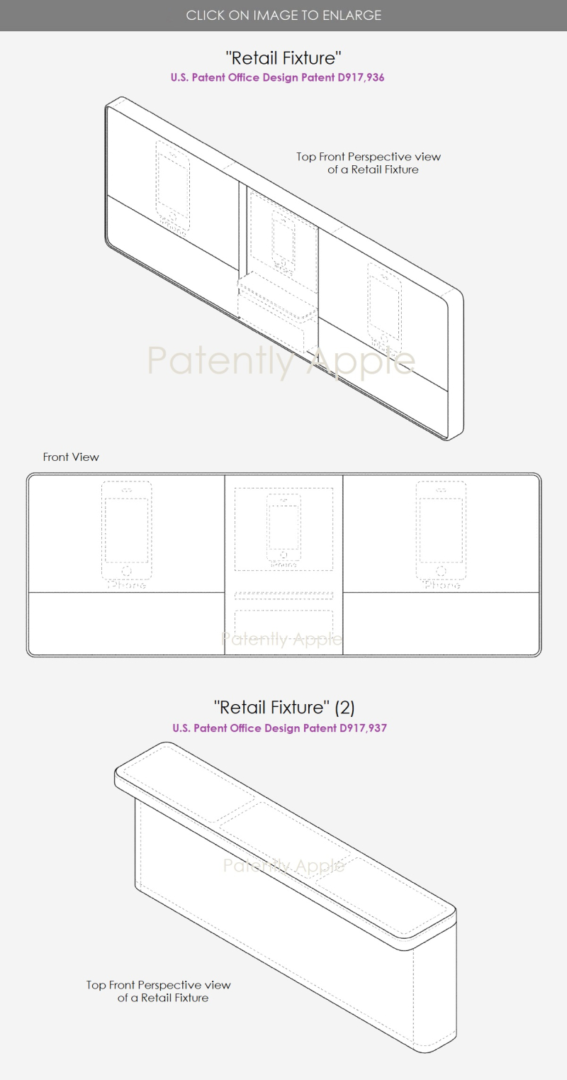 5 - two US Apple design patents  Retail Fixtures