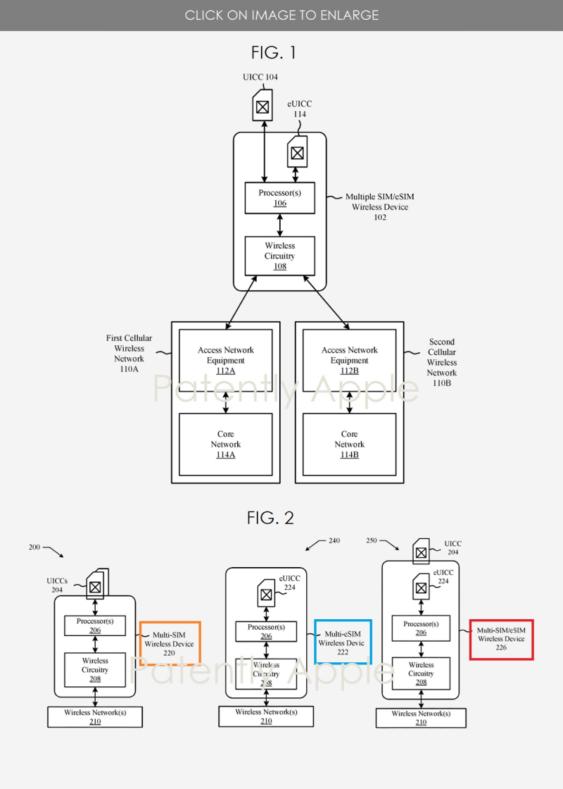 2 - Apple patent figures 1 and 2 re Multi-SIM Multi-eSIM Report