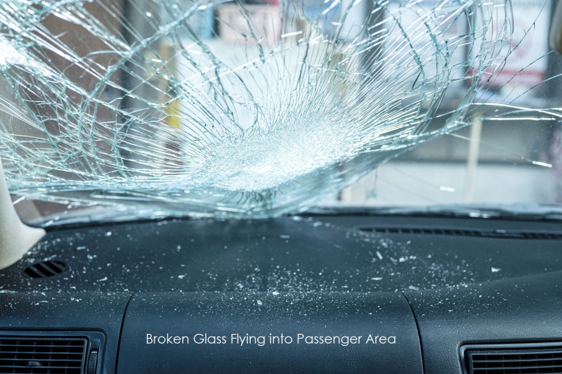 1 cover glass flying into passenger area of vehicle