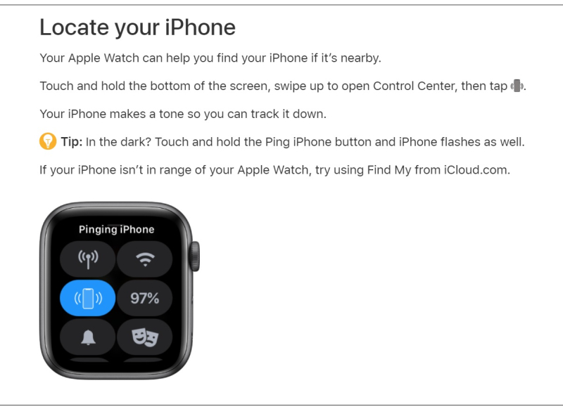 2 Find your iPhone  with Apple Watch