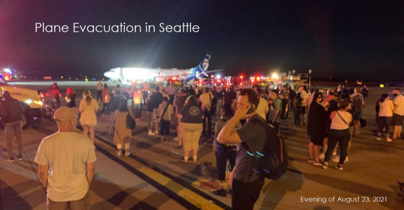 1 X cover plane evacuated in Seattle due to a Galaxy A21 fire
