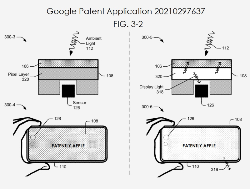 2 Google patent on punch hole camera solution
