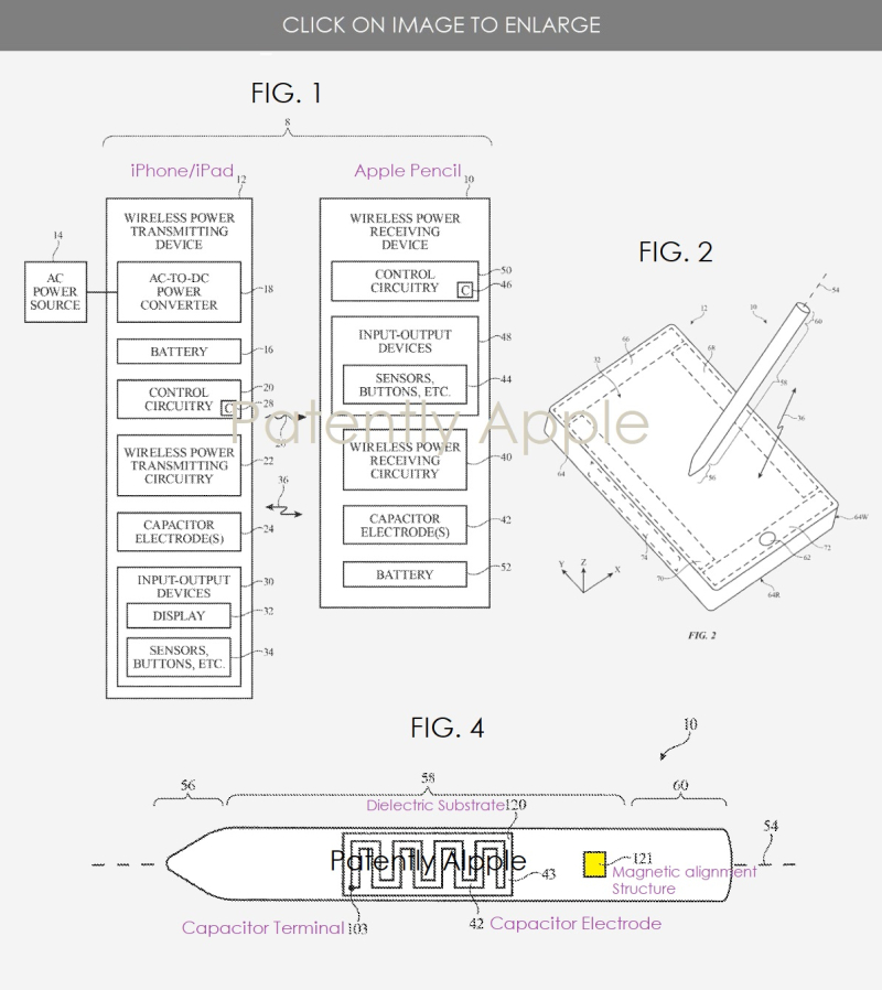 2 x apple pencil wireless charging and magnetically attaching elements