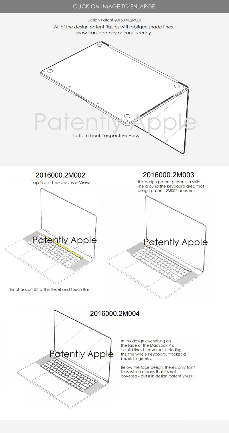 5 MacBook Pro design patents with various coverage of the design  all with ultra-thin bezel illustrated