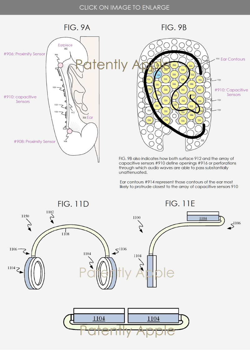 2  APPLE FOLDABLE HEADPHONES PATENT FIGS 9A  9B  11D E & F  PATENTLY APPLE IP REPORT MAY 26  2019