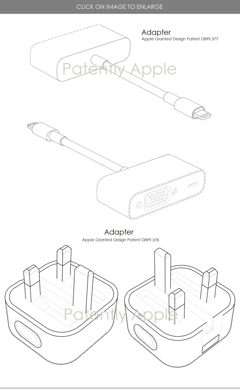 5 - design patents for 2 kinds of adapters