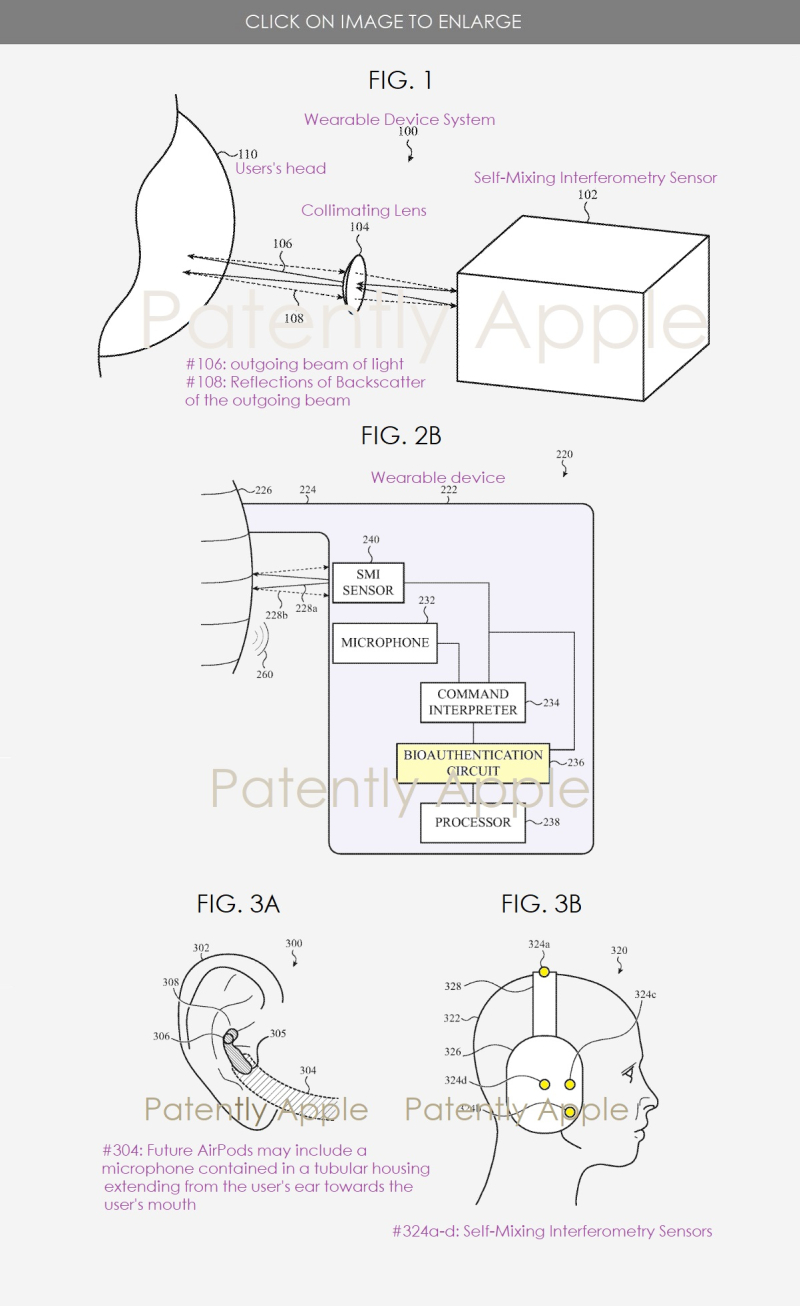 2 X APPLE PATENT FIGS 1  2B  3A-B EARPHONE TECHNOLOGY
