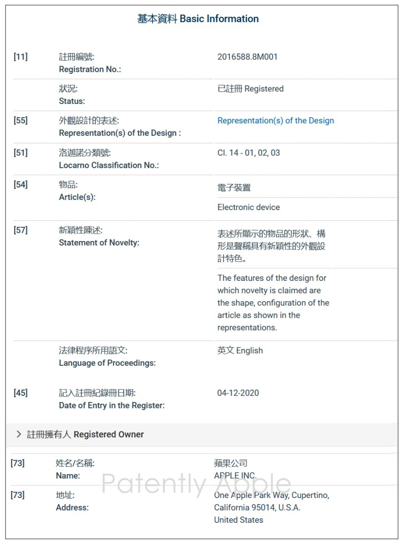 3 X FINAL -- Hong Kong Patent Office  design patent registration form in-part for the 1st 2020 iPad Air design patent