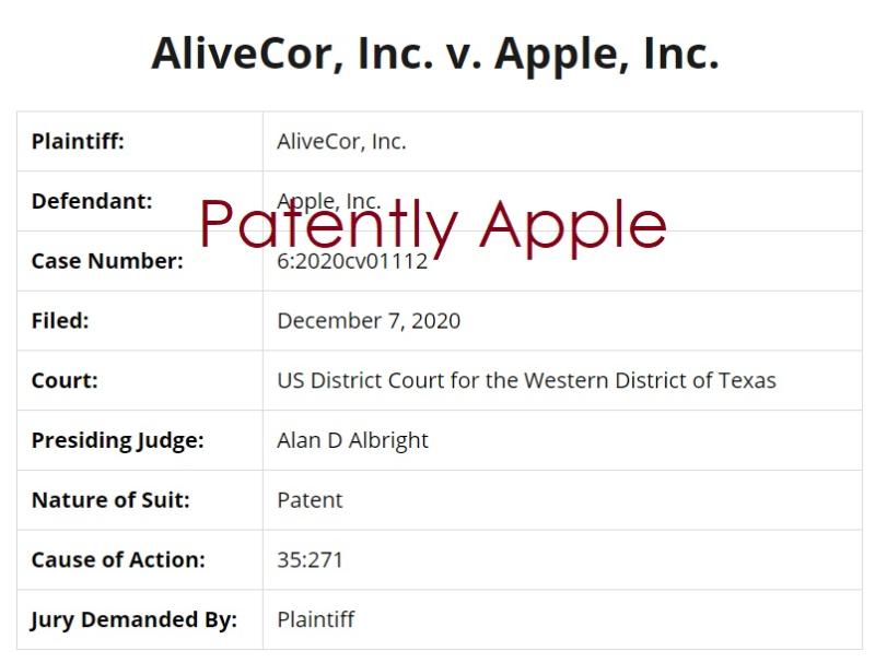 3 AliveCor Inc v. Apple Inc Patent Infringement docket info