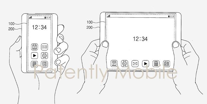 2 samsung patent figure of scrollable phone