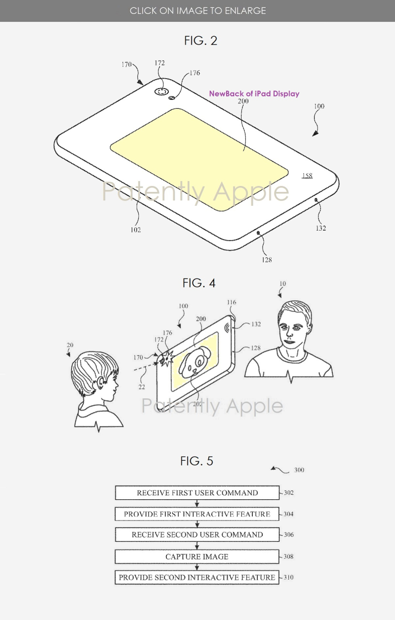 2 x Apple patent figures for iPad with backside display