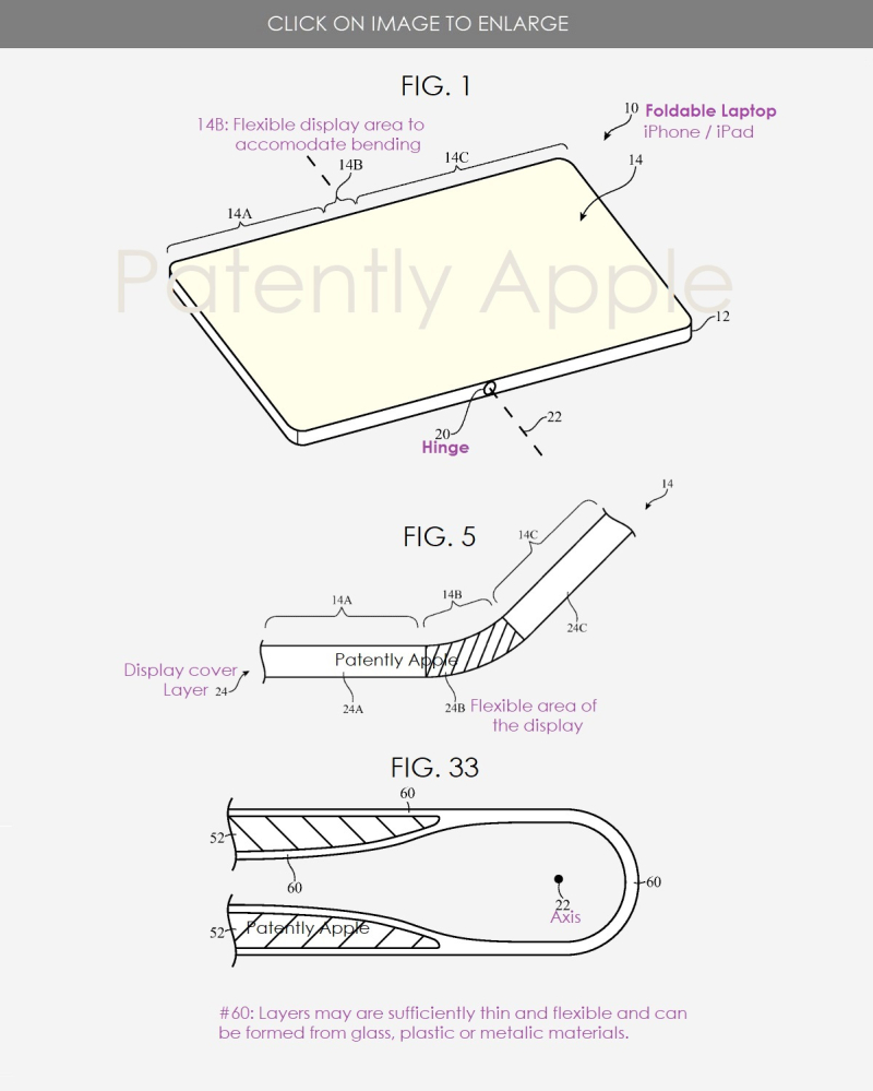 2 x apple patent figs  a continuous folable display doubling as a notebook