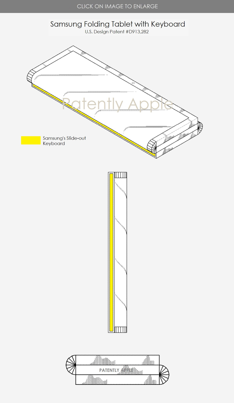 4 samsung design patent figure with folding tablet with slide out keyboard