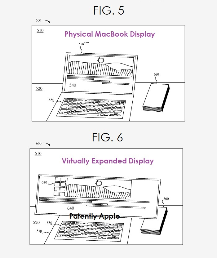 4 us patent figs. 5 & 6 virtually expanding a display
