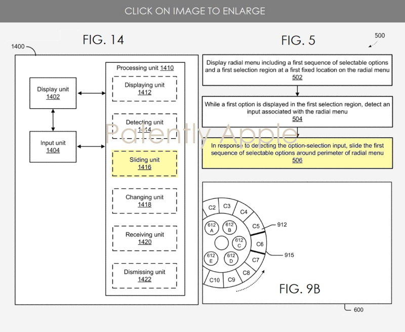 3 apple patent figures for radial menu system