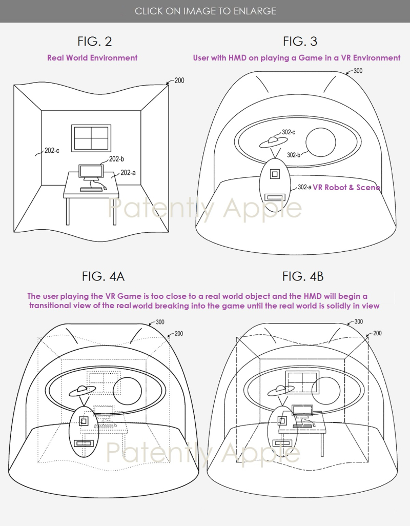 3  Apple Patent - avoiding realworld obstacles when playing a vr game