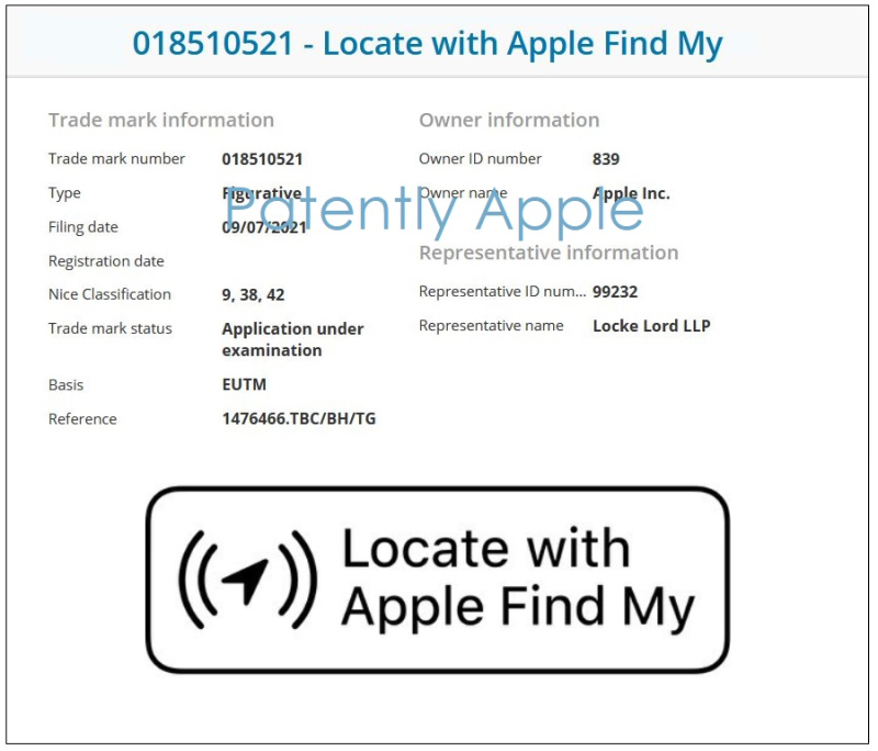6 UK Apple TM filing Located with Apple Find My