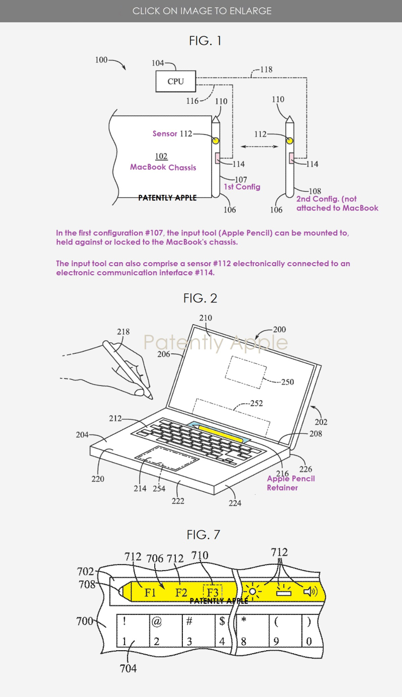2 Apple patent figs showing apple pencil integrated into a Macbook +++