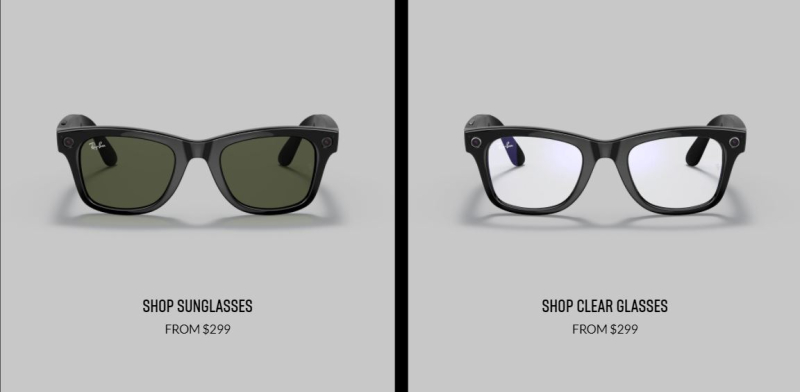 2 a Ray-Ban clear  sunglasses