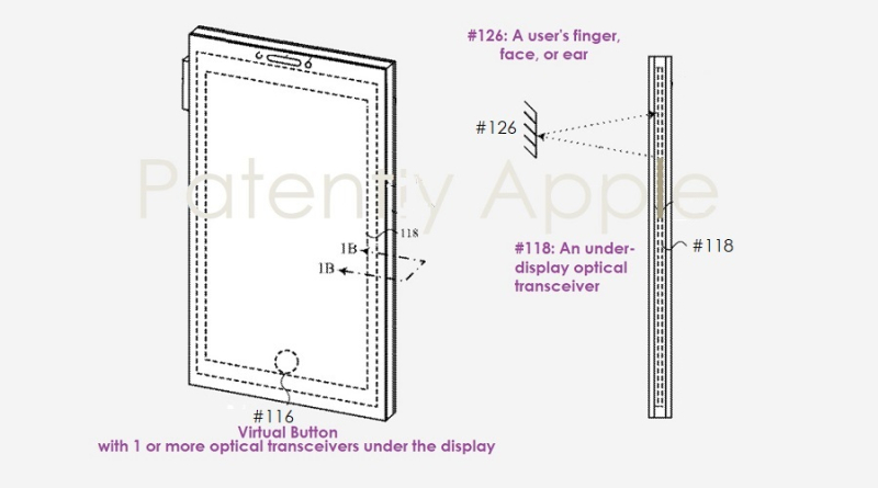 1 Cover - Apple patent figs  Optical Transceivers under display