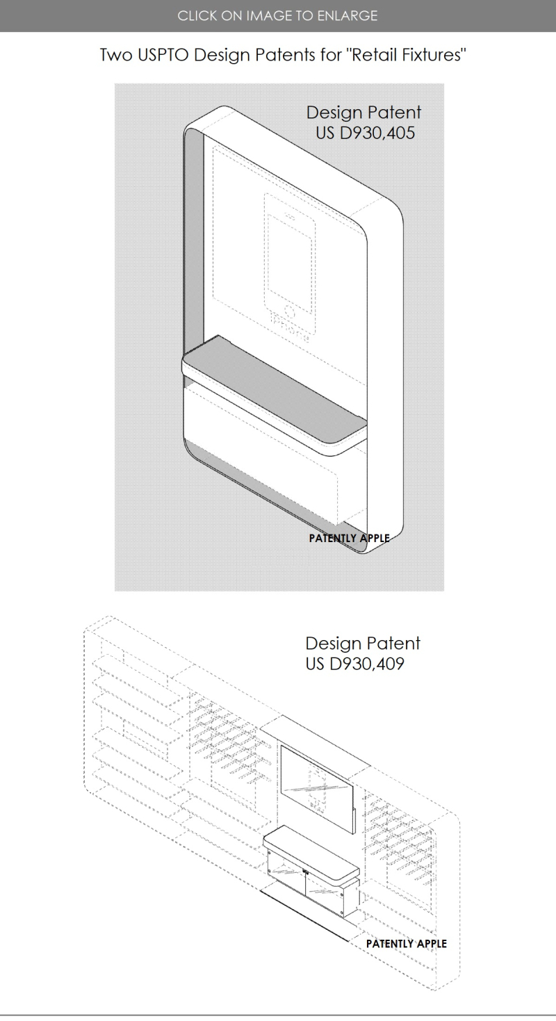 8 APPLE GRANTED 2 US DESIGNS FOR RETAIL FIXTURES