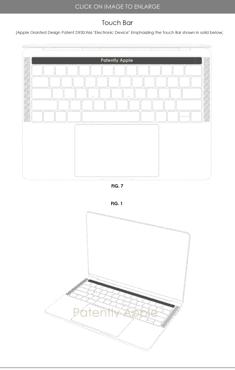 3 design patent for MacBook Pro Touch Bar
