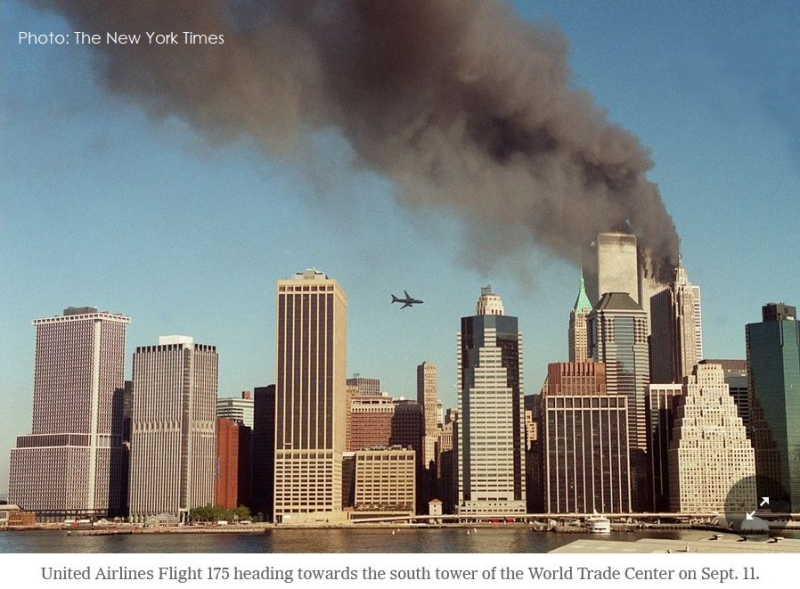 2 NYTimes photo of flight 175 heading towards the south tower of the world trade center sept 11